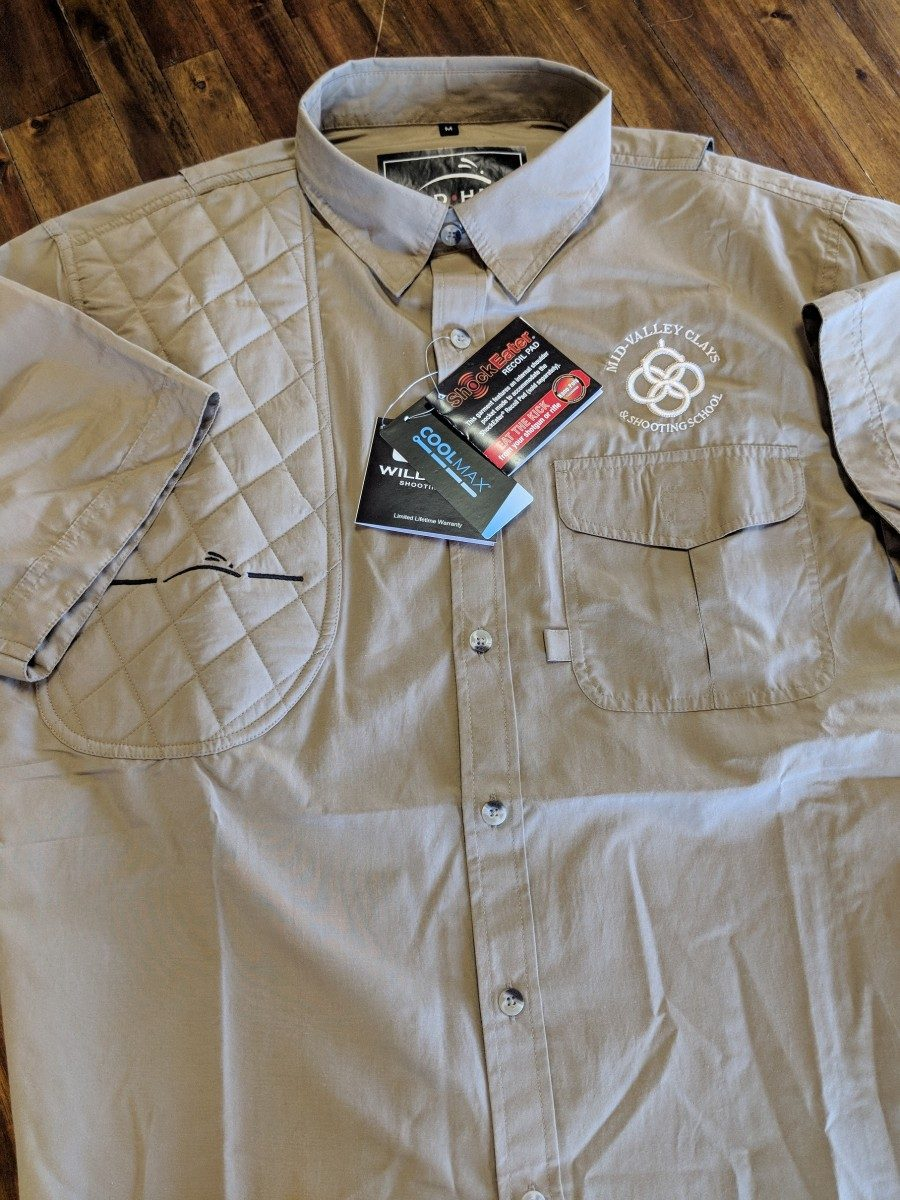 W SHOULDER PAD! WILD HARE INTERNATIONAL LARGE SIZE BUTTON DOWN SHOOTING SHIRT